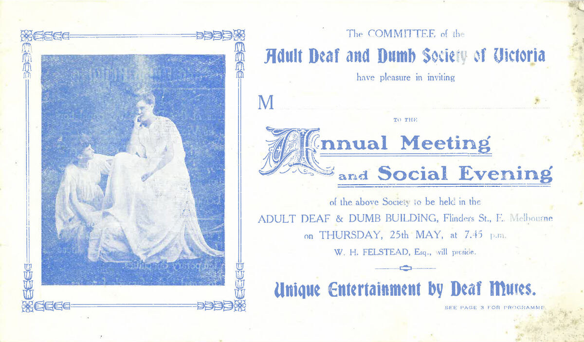 Adult Deaf and Dumb Society of Victoria, invitation to Annual Meeting and Social Evening (circa early 1900s)